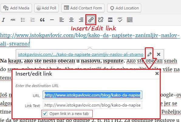 Ubacivanje linkova na post