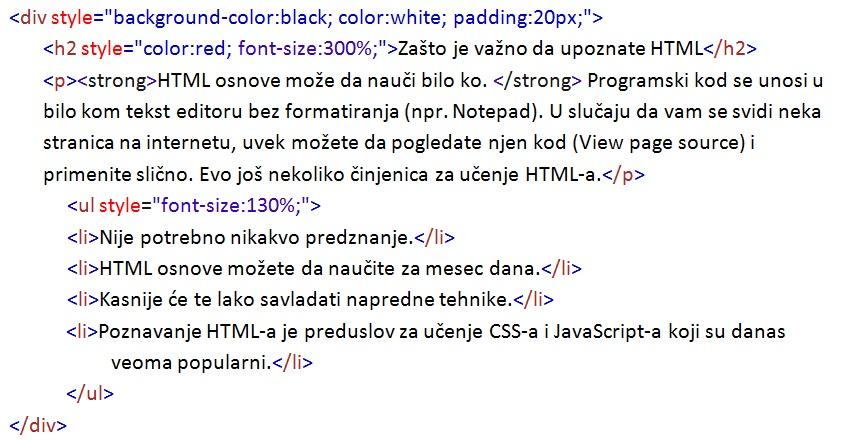 HTML osnove primer 2